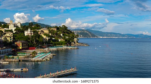 ITALY - June, 2018: Wide panoramic view of Santa Margherita Ligure on the Italian Riviera overlooking the Gulf of Tigullio. Beautiful mediterranean landscape, Italy, Europe.