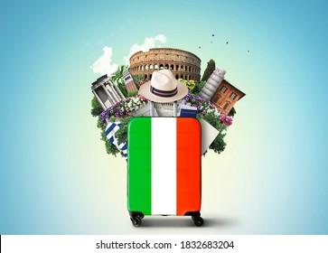 Italia, monumentos históricos Italia y la maleta retro con sombrero