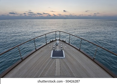 Italy, Lazio, Fiumicino, Tirrenian sea, Morgan 70' Lobster luxury yacht, bow