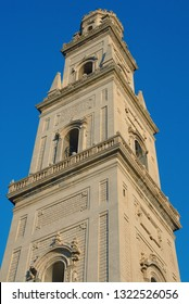 Italy / Lecce – August 11, 2010: The Metropolitan Cathedral of Santa Maria Assunta is the main Catholic place of worship in Lecce. In the photograph the bell tower of the Cathedral is portrayed.