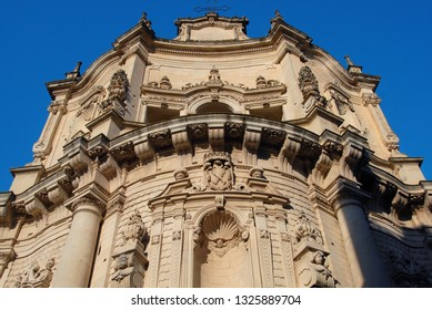 Italy / Lecce – August 11, 2010: the church of San Matteo is a baroque Catholic place of worship in the historic center of Lecce. Beautiful ornaments of art and architecture in  Lecce baroque style.