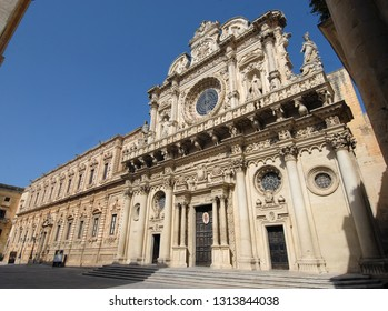 Italy / Lecce – August 15, 2010: The Basilica of Santa Croce is a wonderful baroque church full of preciousness of the historic center of Lecce in the Salento area in Puglia.