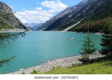 ITALY, LIVIGNO - JULY 10, 2018: Livigno lake