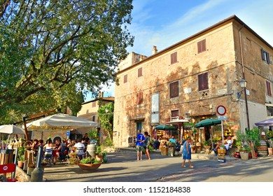 Italy, Livorno, Bolgheri, August 2017 charming medieval Tuscan village of Bolgheri, a hamlet of the town of Castagneto Carducci in the Maremma Livornese