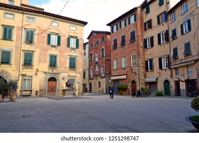 Italy, Lucca, December 2018 landscape of Piazza Cittadella in the historic center of Lucca in Tuscany in front of the house in which Giacomo Puccini was born in 1858 and in which is his monument.