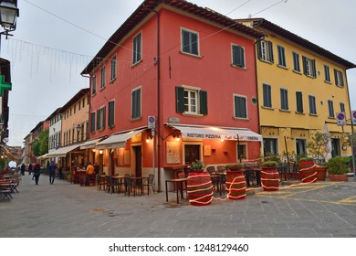 Italy, Lucca, Montecarlo, December 2018 landscape of the picturesque Italian village of Montecarlo which stands on a hill overlooking the plain of Lucca and Valdinievole in Tuscany