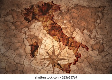 italy map on vintage crack paper background