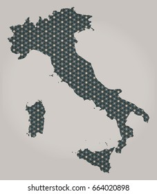 Italy map with stars and ornaments