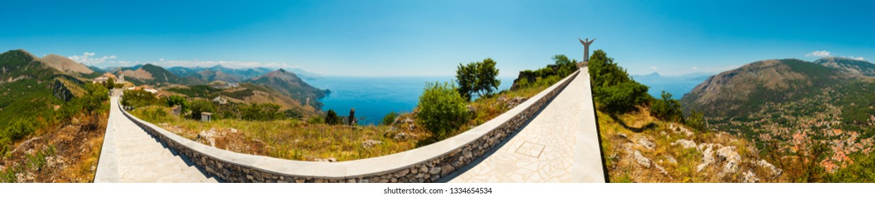 ITALY, MARATEA - JUNE 20, 2017 : Summer Tyrrhenian sea coast view from San Biagio mountain hill (road to statue of Christ the Redeemer) and ancient town ruins, Maratea, Basilicata, Italy.