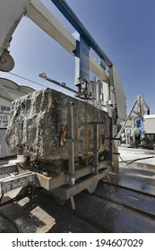 Italy, marble factory, marble cooled with water while being cut - industrial