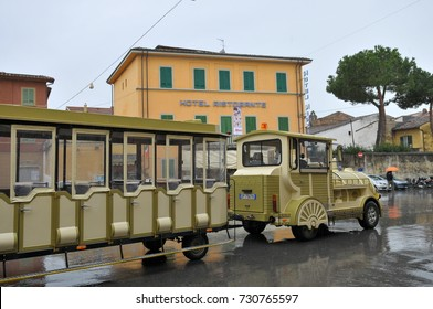 Italy - March, 16, 2011: Tram in front of Hotel Ristorante in Pisa,Italy.