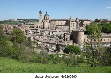 Italy Marche Urbino medieval town panorama