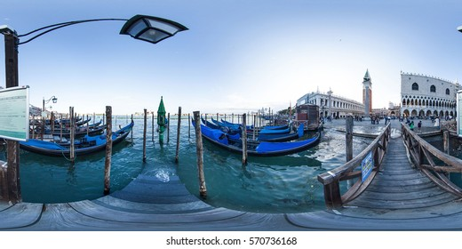 Italy - may 2013, A 360 degrees equirectangular  spherical panorama of bridge, canal and street of Venice. This spherical images are realized in a very high resolution, with DSLR cameras. VR content