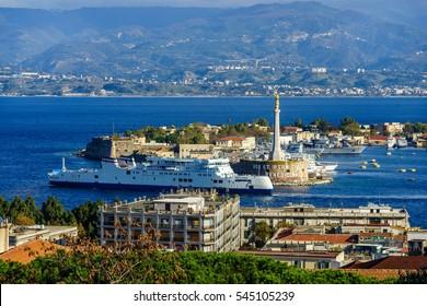 Italy, Messina - The Stele Madonna della Lettera in the port.