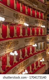 Italy, Milan, 13 February 2020, interior of the La Scala theater, details