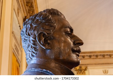 Italy, Milan, 13 February 2020, interior of the La Scala theater, details, busts of famous artists
