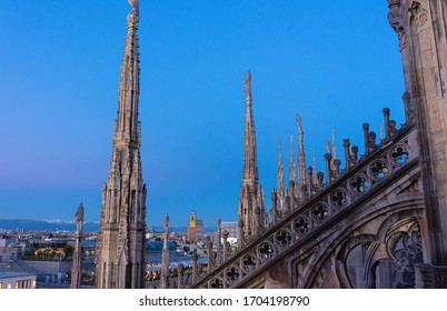 Italy, Milan, 13 February 2020, view from the Duomo terrace, details of the spiers