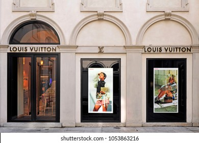 Italy - Milan 25,2018 - Luis Vuitton boutique in Montenapoleone road - shopping and fashion district in downtown - logo