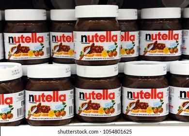 Italy - Milan 26,2018 - Jar of Nutella Hazelnut. Nutella is the brand name of a chocolate hazelnut