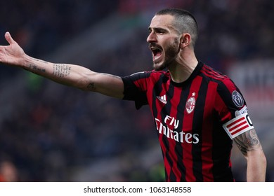 Italy, Milan, april 04 2018: Bonucci Leonardo ac Milan captain shouts to teammates in first half during football match AC MILAN vs FC INTER, Italy League Serie A 2017/2018 27day, San Siro stadium