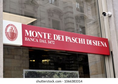 Italy - Milan April 11,2018 - Monte Dei Paschi di Siena Bank