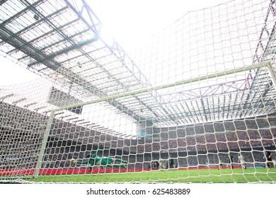 Italy, Milan, april 2017: Handanovic Samir saves goal during football match between FC INTER vs AC MILAN, Italy League Serie A, San Siro stadium, Milan april 15 2017