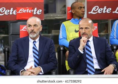 Italy, Milan, april 2017: Pioli Stefano during football match between FC INTER vs SAMPDORIA, Italy League Serie A 30^day, San Siro stadium, Milan april 3 2017