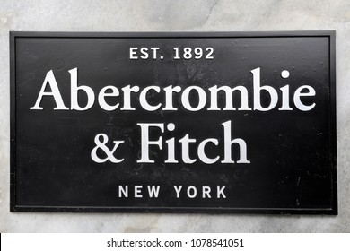 Italy - Milan April 27,2018 - Abercrombie fitch  logo and boutique