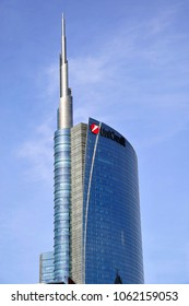 Italy - Milan april 5,2018 - Unicredit tower and the new modern area of skyscrapers in Porta Nuova - gae aulenti square