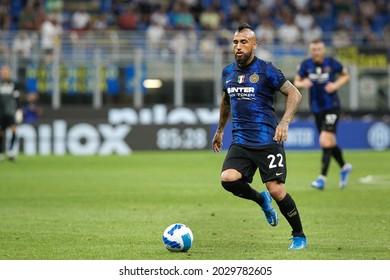 Italy, Milan, aug 21 2021: Arturo Vidal (Inter midfielder) dribbles in front court in the second half during football match FC INTER vs GENOA, Serie A 2021-2022 day1, San Siro stadium