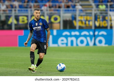 Italy, Milan, aug 21 2021: Matias Vecino (Inter midfielder) pass shot in front court in the second half during football match FC INTER vs GENOA, Serie A 2021-2022 day1, San Siro stadium