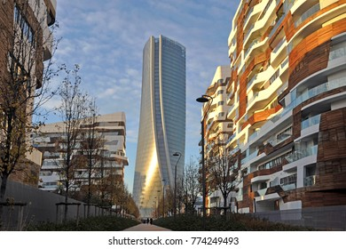Italy - Milan december 13,2017  - Citylife complex - the new commercial and residential area ,Hadid and Isozaki tower - shopping district, skyscrepers and skyline