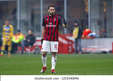 Italy, Milan, december 2 2018: Calhanoglu Hakan after receiving an advice from teammate in the second half during football match AC MILAN vs PARMA, Serie A Tim 2018/2019, San Siro stadium