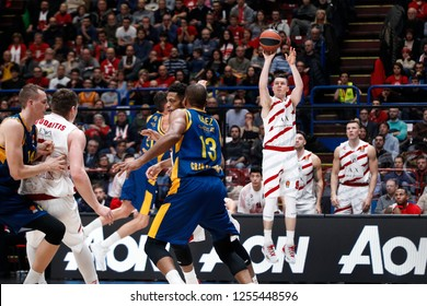 Italy, Milan, december 6 2018: Dairis Bertans scores two points from left angle in the second quarter during basketball match A|X ARMANI MILAN vs GRAN CANARIA, Euroleague 2018/2019, Mediolanum Forum