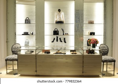Italy - Milan dicember 22,2017 - Dior boutique - luxury store in Montenapoleone road - Bags and accessories