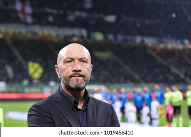 Italy, Milan, february 03 2018: Zenga Walter Crotone manager in the bench before kick off about football match FC INTER vs CROTONE, Italy League Serie A, San Siro stadium.