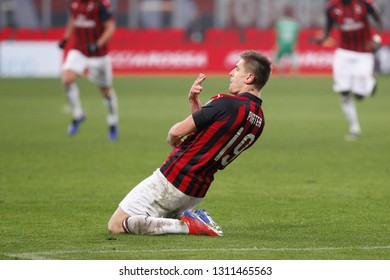 Italy, Milan, february 10 2019: Piatek Krzysztof, ac Milan striker, scores and celebrates the 3-0 goal at 62' during football match AC MILAN vs CAGLIARI, Serie A Tim 2018/2019 day23, San Siro stadium