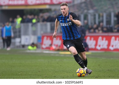 Italy, Milan, february 11 2018: Skriniar Milan moves fast with ball in the second half during football match FC INTER vs BOLOGNA, Italy League Serie A 2017/2018 24day, San Siro stadium