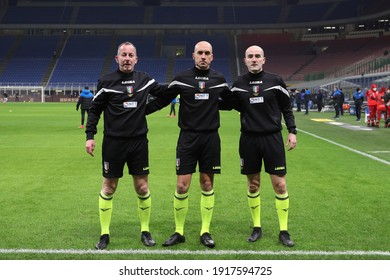 Italy, Milan, february 14 2021: Michael Fabbri (referee) and assistants during pregame about football match FC INTER vs SS LAZIO, Serie A 2020-2021 day22, San Siro stadium