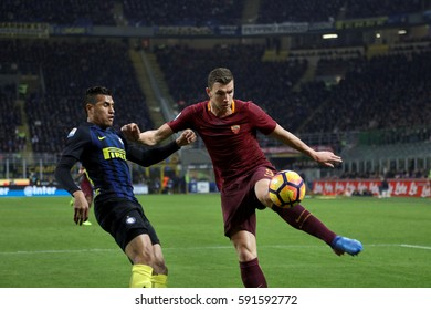 Italy, Milan, february 2017: Dzeko Edin and Perisic Ivan during the football match between FC INTER vs AS ROMA, Italy League Serie A Tim, San Siro stadium Milan february 26 2017