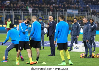 Italy, Milan, february 2017: Pioli Stefano FC Inter manager during the football match between FC INTER vs AS ROMA, Italy League Serie A Tim, San Siro stadium Milan february 26 2017