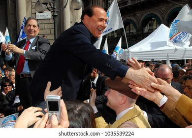 Italy - Milan February 28,2018 - Silvio Berlusconi during a rally of Forza Italia  for the electoral campaign in the square
