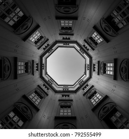Italy, Milan. Interior of an old palace, looking to the sky with a wide 16mm lens.