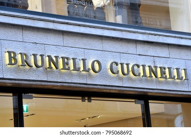Italy - Milan january 16,2018 -  Brunello Cucinelli store in Montenapoleone road - fashion and luxury district