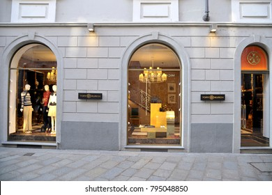 Italy - Milan january 16,2018 - Tory Burch store in Montenapoleone road - fashion and luxury district - Spiga Road