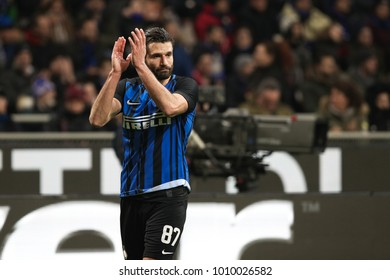 Italy, Milan, january 21 2018: Candreva Antonio claps hands towards his fans in the second half during football match FC INTER vs AS ROMA, Italy League Serie A 21day, San Siro stadium