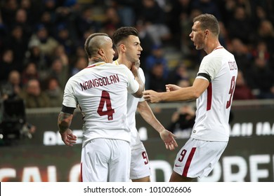 Italy, Milan, january 21 2018: El Shaarawy Stephan celebrates goal with teammates in the first half during football match FC INTER vs AS ROMA, Italy League Serie A 21day, San Siro stadium