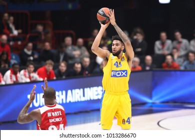 Italy, Milan, january 26 2018: Bolden Jonah goes up for 3 points shot in second quarter during basketball match Ax Armani Exchange Olimpia Milan vs Maccabi Fox Tel Aviv, EuroLeague 2018.