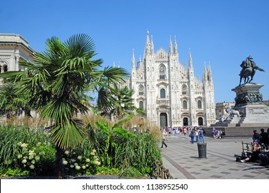 Italy - Milan july 20,2018 - Duomo cathedral is a turistic place of the city - palm trees and botanical garden in the city center - downtown