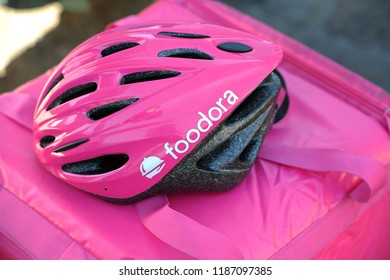 Italy - Milan july 22,2018 Foodora home delivery - you can order food from the restaurant and eat it at home, at work or in other places